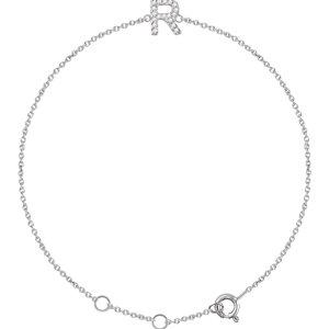 "14K White .06 CTW Diamond Initial ""R"" 6-7"" Bracelet"