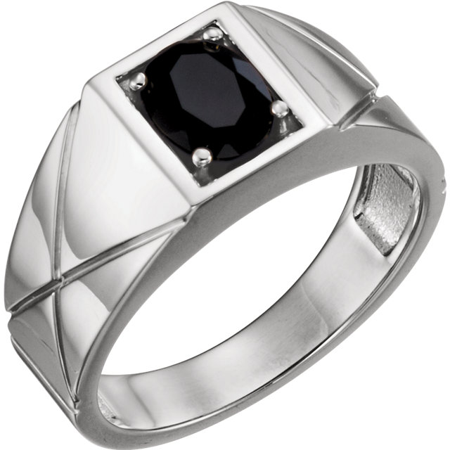 Sterling Silver Onyx Men-s Ring