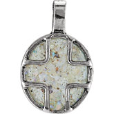Oval Cross Pendant with Ancient Roman Glass Design