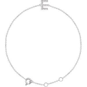 "14K White .06 CTW Diamond Initial ""E"" 6-7"" Bracelet"