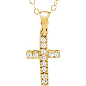 "14K Yellow Cubic Zirconia Cross 15"" Necklace"