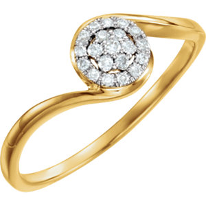 14K Yellow & White 1/10 CTW Diamond Ring Size 7