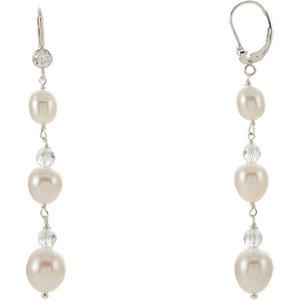 Freshwater Cultured Pearl & Crystal Earrings