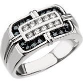 3/4 ct tw Men's Black & White Diamond Ring