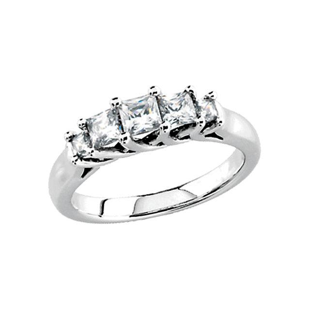 Five Stone Princess Cut Diamond Anniversary Band