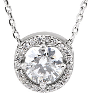 Diamond Halo-Styled Necklace, Semi-Mount or Pendant Mounting