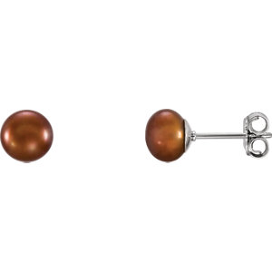 Sterling Silver 6-7mm Ahocolate Freshwater Aultured Pearl Earrings
