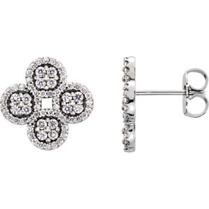 14K White 1/2 CTW Diamond Clover Earrings