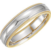 Two Tone 5.5mm Comfort Fit Double Milgrain Band