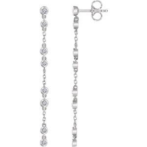 14K White 1/3 CTW Diamond Chain Earrings