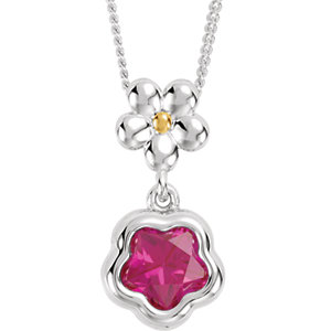"Sterling Silver FUSHIA Cubic Zirconia BFlower™ 15-17"" Necklace with Box"