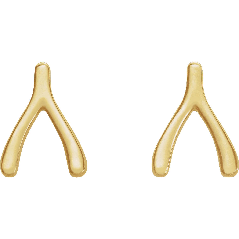 14kt Yellow Wishbone Earrings