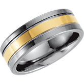 Dura Tungsten® Ridged Band with Gold Immerse Plating