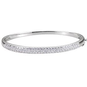 "14K White 1 1/2 CTW Diamond Cuff 7"" Bracelet"