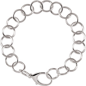Sterling Silver Ring Link Chain 12mm