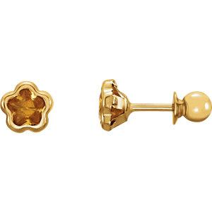 BNatural™ Youth CZ Birthstone Flower Earrings