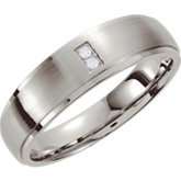 Stainless Steel .02 ct tw Diamond Tapered Band