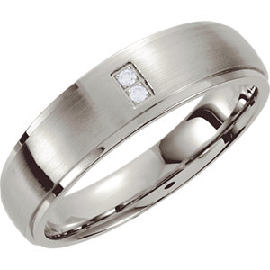 Stainless Steel .02 CTW Diamond Tapered Band