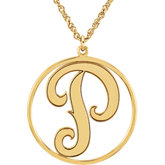 20mm Single Letter Script Monogram Necklace