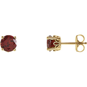 Mozambique Garnet Scroll<br> Design® Round 4-Prong<br> Stud Earrings