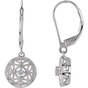 1/1  ATW Diamond Filigree<br> Lever Back Earrings