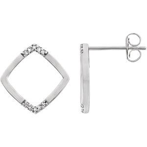 14K White .05 CTW Geometric Diamond Earrings