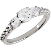 3-Stone Engagement Ring or Matching Band Mounting