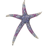 Multicolor Gemstone & Diamond Starfish Brooch/Pendant