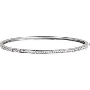 14K White 1/3 CTW Diamond Bangle Bracelet