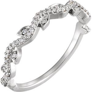 14kt White 1/6 CTW Diamond Leaf Ring