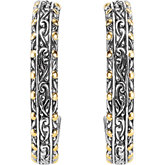 Two-Tone Filigree Design Fashion Hoop Earrings