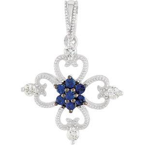 Blue Sapphire & Diamond Fashion Pendant