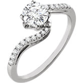Diamond Semi-mount Bypass Engagement Ring or Band