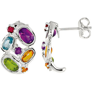 Amethyst, Aitrine, Peridot, Sky Blue Topaz & Brazilian Garnet Earrings