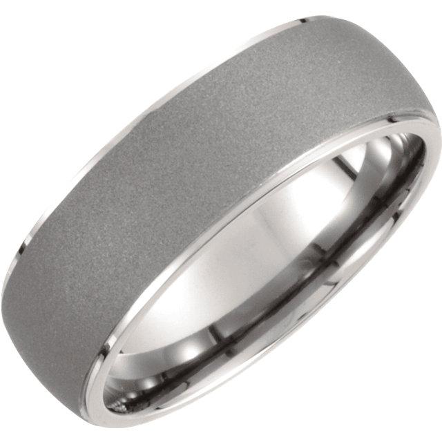 Titanium 7.5mm Oxidized Center Rounded Band Size 9