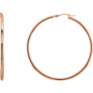 14K Rose 48mm Hoop Earrings