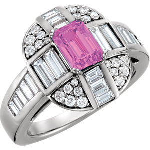 Pink Sapphire & Diamond Engagement Ring, Semi-Mount or Mounting