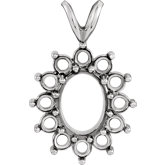Oval 13-Stone Cluster Pendant Mounting