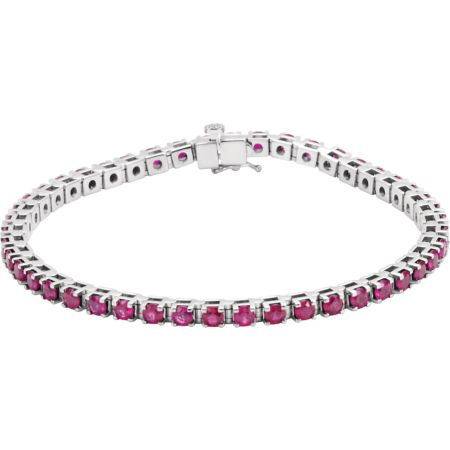 14K White Ruby Line Bracelet