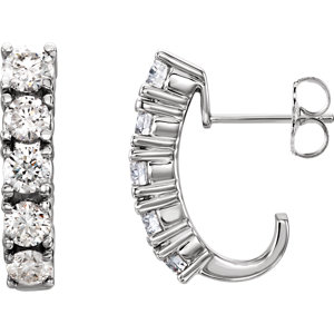 Diamond 5-Stone J-Hoop Earrings or Mounting