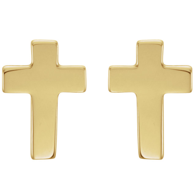 14K Yellow 7x5mm Cross Earrings