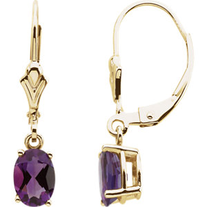 Amethyst Lever Back Earrings