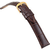 16mm Ladies Long Alligator Grain Padded Brown Watch Strap