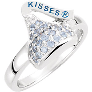 Sterling Silver March HERSHEYS KISSES Aubic Zirconia Birthstone Ring