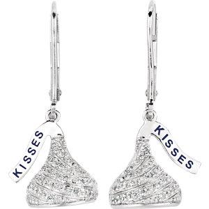 HERSHEYS KISSES Flat Back .17 CTW Diamond Lever Back Earrings Ref 651182