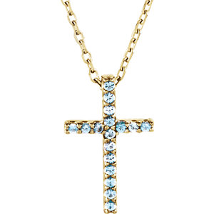 Petite Gemstone Cross Necklace or Pendant Mounting