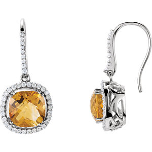 Citrine & Diamond Halo-Styled Earrings or Semi-Mount