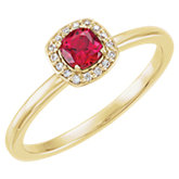 Chatham® Created Ruby & Diamond Ring or Mounting