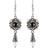 Two-Tone Filigree Design Fashion Earrings