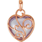 Genuine Rose de France Heart Pendant